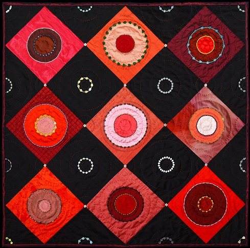 Silk red and black circles